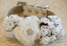 White Wedding Dog Collars with white flowers, Floral Dog Collar with Rhinestone, Pet Wedding accessory