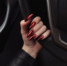 42 Charming red Nail Art Designs To Try This summer nails; Stiletto Nail Art, Cute Acrylic Nails, Cute Nails, Pretty Nails, Glitter Nails, Coffin Nails, Perfect Nails, Gorgeous Nails, Hair And Nails