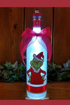 I love the Grinch | Christmas decor | handcrafted wine bottle | affiliate