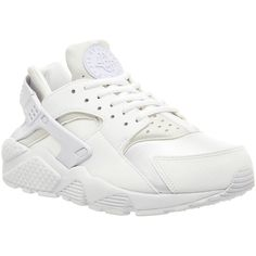 Nike Air Huarache ($90) ❤ liked on Polyvore featuring shoes, sneakers, nike, huaraches, trainers, unisex sports, white white w, white shoes, white leather sneakers and sport shoes