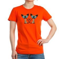 Cute Siamese Cats Tail Heart T-Shirt for