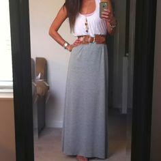 Homemade maxi skirt, floppy shirt, suffocating belt