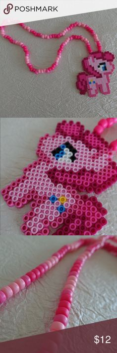 Pinkie pie / kandi necklace/ my little pony / rave Brand new never worn all of my items are handmade by myself with the upmost love and care ❤️ I take custom orders on my Etsy page @theravingrabbit Thanks for visiting  Jewelry Necklaces