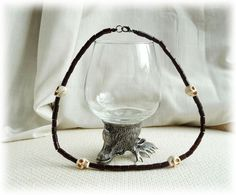Men's Necklace - Brown wooden beads and Skull Necklace  £16.45