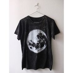Full moon space stone washed punk rock goth T-Shirt M ❤ liked on Polyvore featuring tops, t-shirts, gothic tees, cotton shirts, punk rock shirts, goth top and flat top