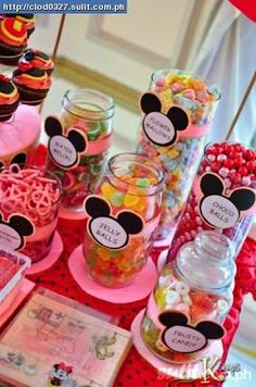 mickey mouse candy table ideas | Party Hat: Candy Buffet Table: Mickey Mouse
