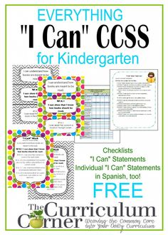 Everything I Can for Kindergarten | Kid Friendly CCSS | Individual I Can Statements | Checklists & more!
