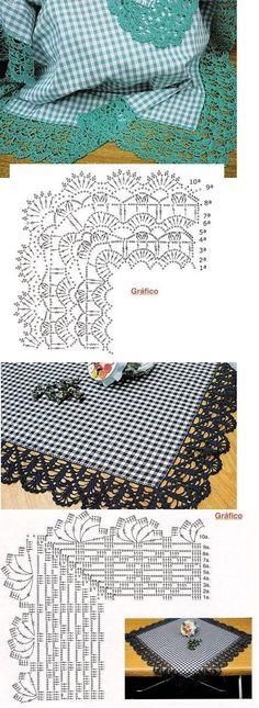 Beautiful Crochet borders with corners ! Crochet Boarders, Crochet Edging Patterns, Crochet Lace Edging, Crochet Motifs, Crochet Diagram, Crochet Chart, Thread Crochet, Crochet Trim, Crochet Designs