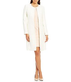 Calvin Klein Sequined Boucle Long Jacket #Dillards
