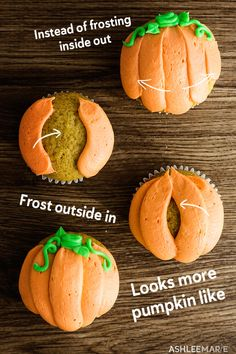 Soft and fluffy and delicious pumpkin cupcakes with a delicious cream cheese frosting. And Decorating these pumpkin cupcakes is super easy too! # cake decorating Pumpkin Cupcakes recipe and video Pumpkin Recipes, Fall Recipes, Holiday Recipes, Real Food Recipes, Thai Recipes, Asian Recipes, Mexican Food Recipes, Dinner Recipes, Fall Baking