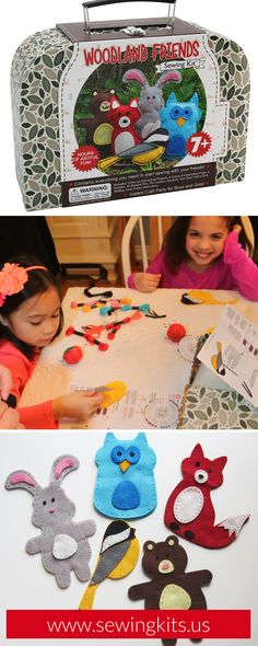 Hand Sew Felt Using Blanket Stitch   This DIY step-by-step tutorial explains exactly how to use the blanket stitch to sew two pieces of felt together. Each step is accompanied by a photo. Includes all necessary supplies. SHOP http://sewingkits.myshopify.com/products/woodland-friends-craft-kit    Easy DIY Kids Sewing Crafts Kits   Woodland Animals Felt Projects   Party Favors