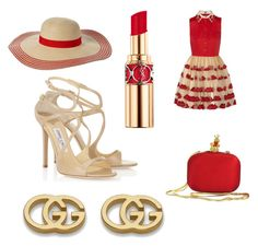 """""""Lady in red"""" by katheryna ❤ liked on Polyvore featuring Jimmy Choo, Moschino, Yves Saint Laurent, Magid and Gucci"""
