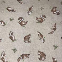 Pheasants 140cm Half Panama Cotton Poly Fabric Material Pop Art Vintage Linen