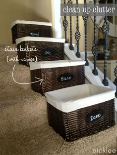 10 Thrifty Spring De-cluttering Tips [inspiration] | Picklee I may not have stairs but this is still a great idea. Beats everything being all over the place. lol