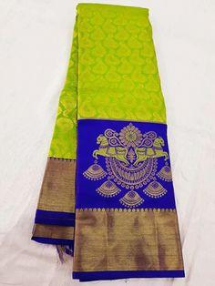 Kanjivaram Sarees Silk, Indian Silk Sarees, Soft Silk Sarees, Saree Design Patterns, Saree Color Combinations, Green Saree, Yellow Saree, Wedding Saree Collection, Saree Blouse Neck Designs