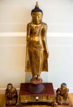 Fine Glass Buddha Statue Decoration Resin Craft Buddhist Small Buddha Statue Amitabha Home Decoration Crafts Design