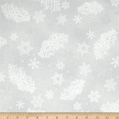 Kaufman Holiday Flourish Metallics Snowflake & Sprigs Silver from @fabricdotcom  Designed by Peggy Toole for Robert Kaufman, this traditional Christmas cotton print collection features sweeping flourishes, poinsettias, and metallic accents. Perfect for quilting, apparel, and holiday home decor accents. Colors include dove grey, white, and metallic silver accents.