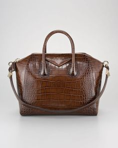 Givenchy Antigona Crocodile-Embossed Duffel Bag, Medium