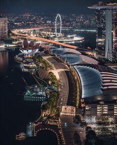 Urban Architecture, Architecture Portfolio, Singapore Malaysia, Singapore City, Dubai Beach, Night Scenery, Beautiful Waterfalls, California Travel, Nice View