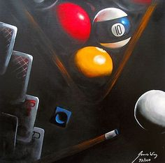 James Wing Hand paints On Canvas Black Poker Billiards Pool Table Balls Oil Paintings Acrylic Landscapes Large Canvas Wal Basement Bar Designs, Home Bar Designs, Basement Ideas, Billiard Pool Table, Billiards Pool, Painted Vases, Hand Painted, Billard Snooker, Pool Drawing