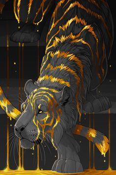 anime animals I know I said Im not here for the tigers, but this ones unusually awesome. And I like two-toned things. Animal Drawings, Cool Drawings, Drawing Animals, Mythical Creatures Art, Cute Fantasy Creatures, Anime Animals, Furry Art, Cat Art, Amazing Art