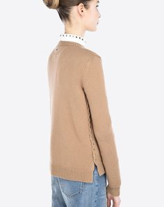 VALENTINO Studs Lightweight knitted Solid colour Round collar Long sleeves Side slit hemline  39635593jj