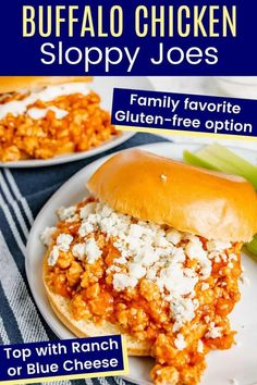 Buffalo Chicken Sloppy Joes - combine the classic sloppy joe sandwich and spicy buffalo wings into one quick and easy dinner that's healthy too. Pile it all on a hamburger roll or try a gluten free or low carb option like lettuce wraps, rice bowls, salads, or stuffed sweet potatoes! Use your favorite ranch or blue cheese dressing or try the lighter Greek yogurt versions in the recipe! Gluten Free Recipes For Dinner, Dinner Recipes, Sloppy Joe Sandwich Recipe, Buffalo Recipe, Macro Friendly Recipes, Food Dishes, Main Dishes, Buffalo Wings, Easy Weeknight Dinners