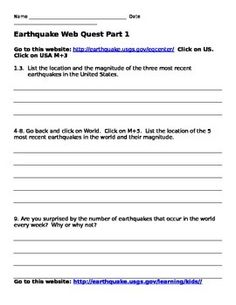 This web quest provides students with information about earthquakes that is on the web.