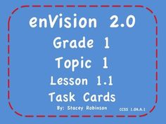 New! enVision Math 2.0 Topic 1 Grade 1 Task Cards Kagan