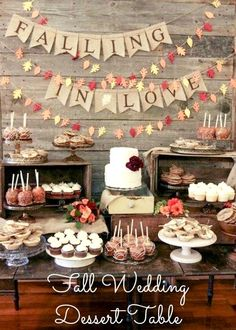 Fall Wedding Dessert Table - Fall Wedding Ideas. #cake #party #decorations