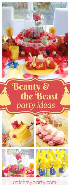 Be our Guest at this wonderful Beauty and the Beast birthday party. The birthday cake is incredible!! See more party ideas and share yours at CatchMyParty.com
