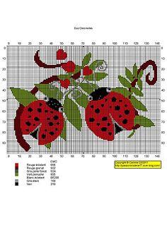 - Two Ladybugs Butterfly Cross Stitch, Cross Stitch Bird, Cross Stitch Borders, Cross Stitch Animals, Cross Stitch Charts, Cross Stitch Designs, Cross Stitching, Cross Stitch Embroidery, Embroidery Patterns