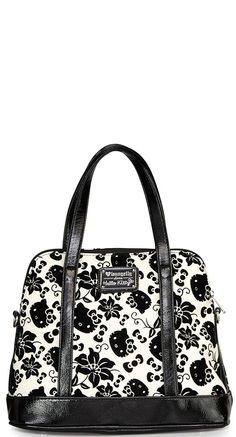 Loungefly Hello Kitty Floral Crossbody Bag in Black and Cream | Blame Betty