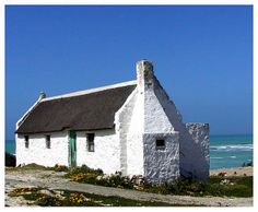 fisherman cottages along the western coast (South Africa) Irish Cottage, Cottage Art, White Cottage, Cottage Living, Cottages By The Sea, Beach Cottages, Fishermans Cottage, Cape Dutch, Dutch House