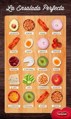 Ingredientes deliciosos que se llevan perfectamente con otros, logrando una combinación exquisita. #Ensalada #Cocina #Food
