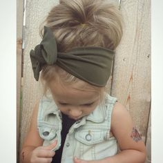 Olive green knot headwrap infant toddler adult by TheKnotProject