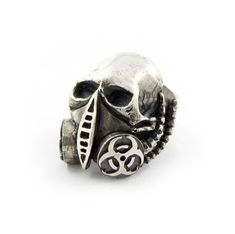 The Biohazard gas mask skull ring, solid Sterling silver, handmade by RBZ - Unrestrained Jewelry. www.rbzjewelry.com