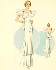 1930s Evening Gown ✿ white formal wear ruffle hem sheer overlay bolero color illustration print ad fashion plate vintage