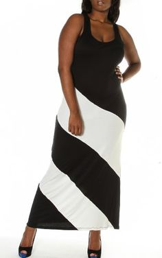 Pinkclubwear-Plus-Size-Black-White-Asymmetric-Colorblock-Tank-Long-Maxi-Dress-BlackWhite-2X-0