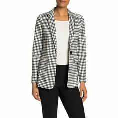 Chaqueta clásica a cuadros Adrianna Papell, Blazer Jacket, Nordstrom Rack, Black And White, Long Sleeve, Model, How To Wear, Jackets, Fashion Accessories