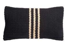 Siw Thai Silk - Hyacinth Pillow, Black w/ Stripe