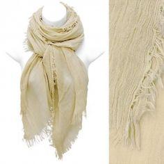 Scarf Soft Knit Wrap Shawl Beige Frayed Edge Fringe Fashion Accessory  http://stores.ebay.com/beachcats-bargains  beachcats bargains