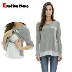 c145388a266 Emotion Moms Maternity Clothes Long sleeve Maternity tops Nursing Top pregnancy  Clothes for Pregnant Women breastfeeding