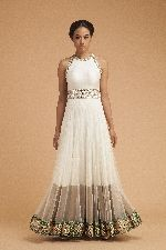 Ivory Mirror Work Anarkali Gown