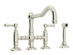 Rohl Country Kitchen 1.5 gpm 8 in. 2 Lever Handles Deck Mount Kitchen Sink Faucet Column Spout Polished Nickel RA1458LMWSPN2