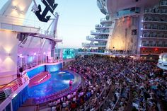 Enjoy a dazzling show at the #AquaTheater #onboard #OasisOfTheSeas #cruising #travel #RoyalCaribbean