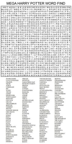 super hard word searches | MEGA HARRY POTTER WORD FIND by ~Kinky-chichi on deviantART