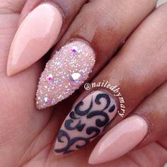 Stiletto pointy almond pretty sugar Swarvoski Crystal pixie dust nude acrylic gel nails