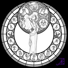 Stained Glass coloring picture free for adults