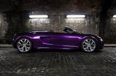 Audi R8 V10 spyder wrapped in midnight purple color thinking of redoing my car in purple idk still like my glitter bomb lol
